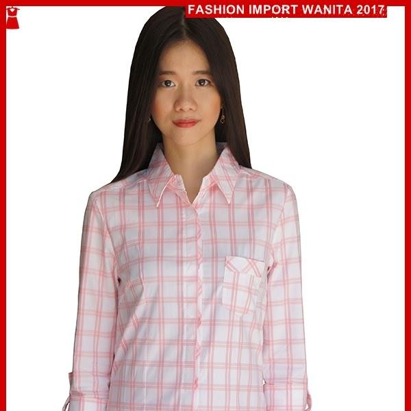 ADR014 Kemeja Wanita Pink Kotak Kotak Import BMGS