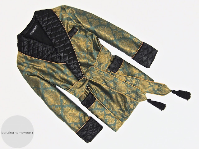 Mens paisley silk smoking jacket quilted robe