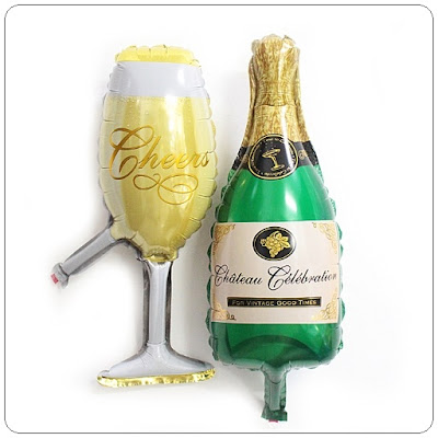 Balon Foil Champagne Bottle + Glass Mini