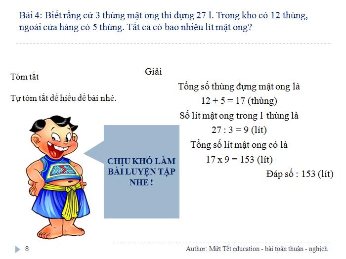 Các dạng bài toán tỉ lệ thuận - nghịch - Toán 5 (Tiết 1) (8)