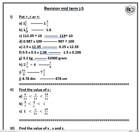 مراجعه نصف الفصل الدراسى الاول Maths للصف الخامس Lycee Liberty English upper junior