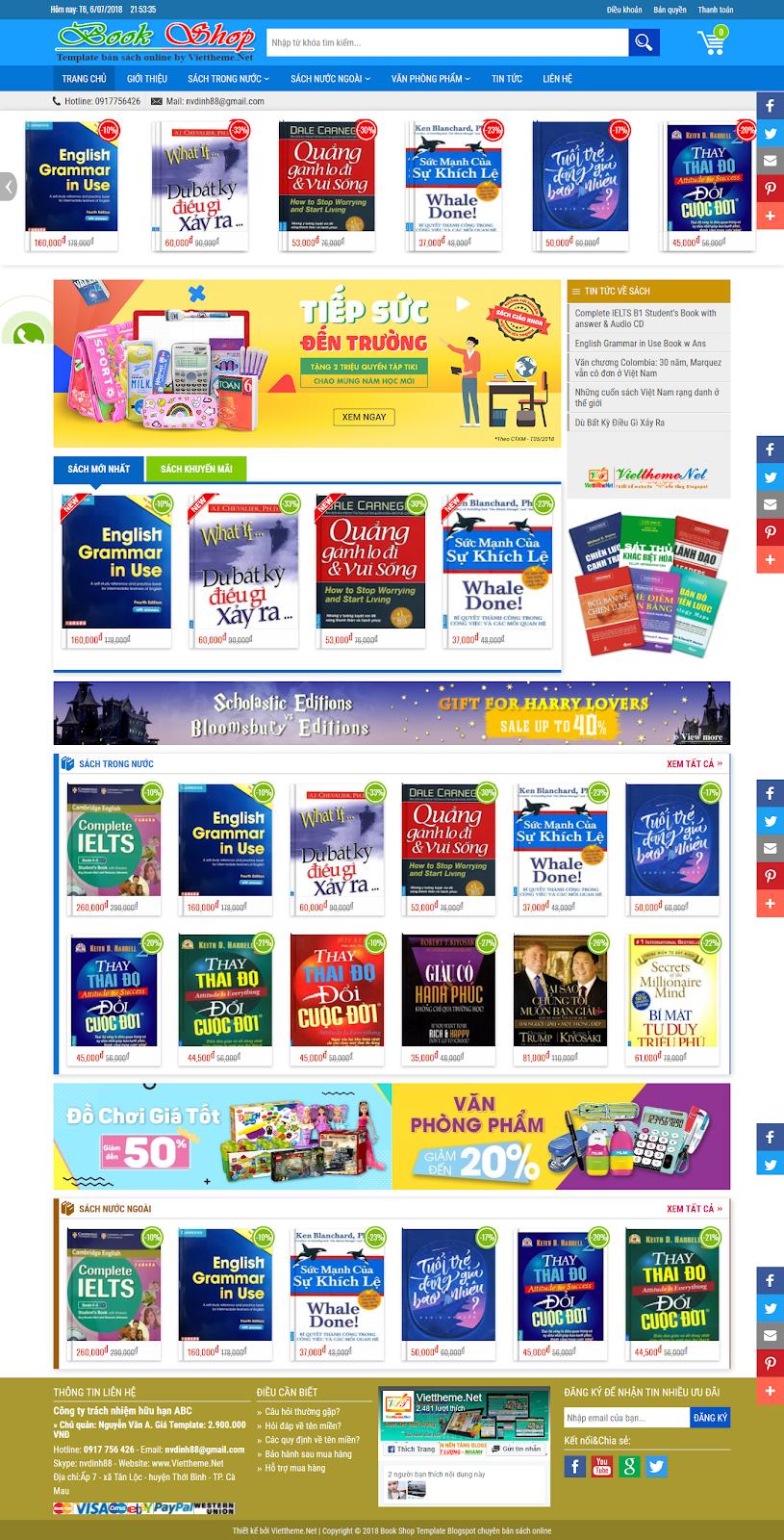 Book Shop - Template Blogspot bán hàng online lĩnh vực sách
