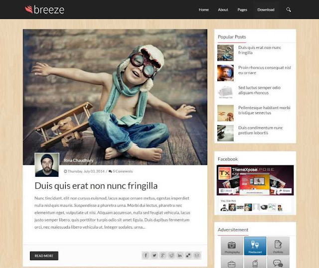 Breeze Blogger template is stylish, professional magazine Blogspot template with responsive layout, SEO, responsive, mobile friendly, stylish and two column blog template.