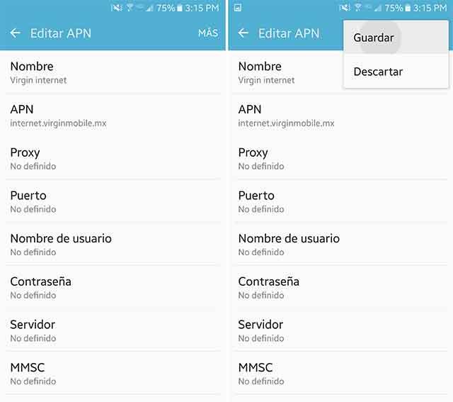 configurar internet móvil Virgin Mobile México
