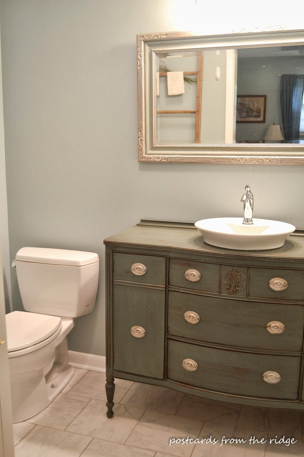 Nice bathroom vanity made from a dining room buffet. Postcards from the Ridge
