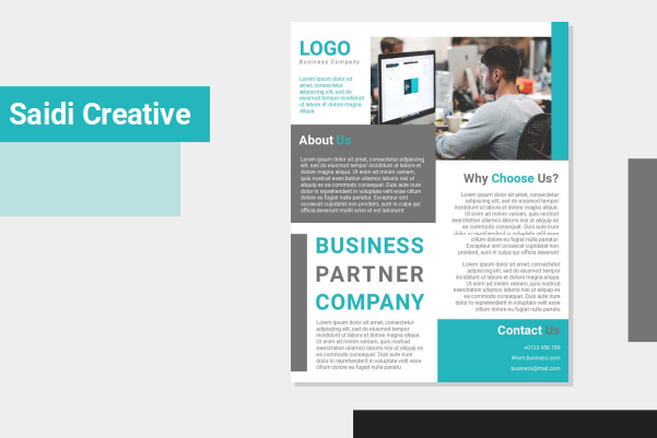 Business Flyer Template Free Download on Microsoft Word File with Cyan Color