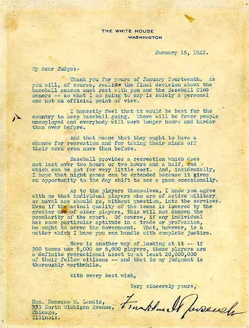 President Roosevelt's Greenlight letter to Judge Kenesaw Mountain Landis, 15 January 1942 worldwartwo.filminspector.com