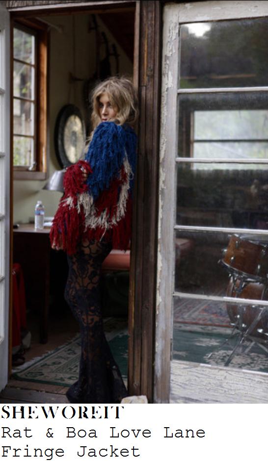 perrie-edwards-blue-white-red-tassel-fringe-jacket-instagram