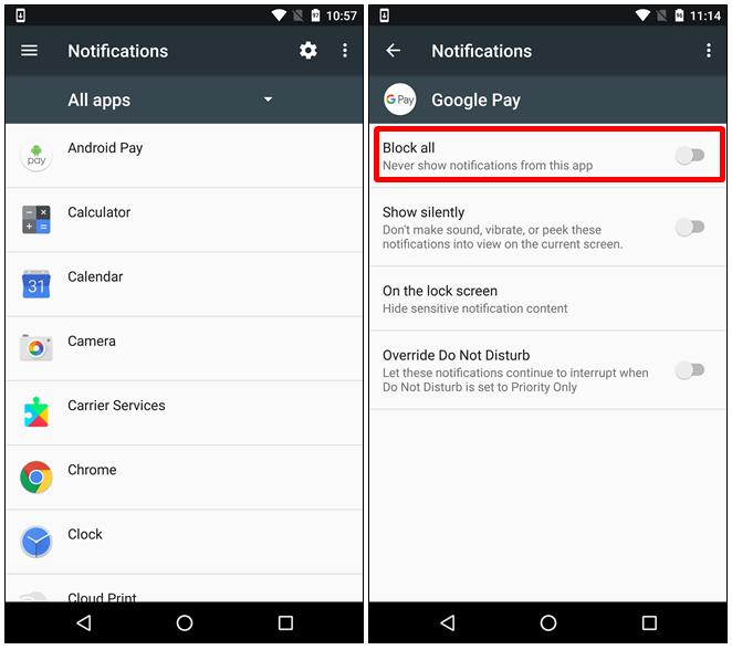 disattivare completamente le notifiche di un'app Android