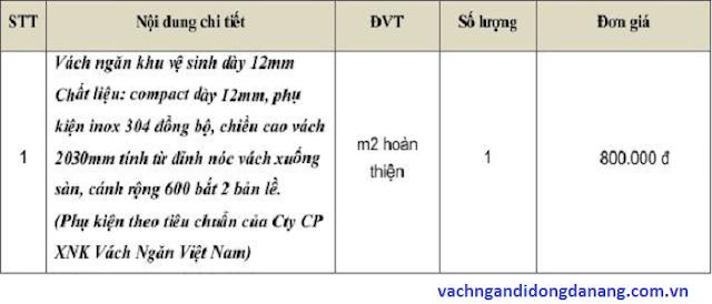 Báo giá vách ngăn vệ sinh Đà Nẵng