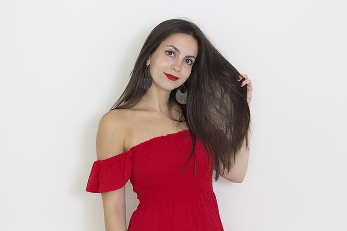 Red maxi new look crepe beach dress bardot