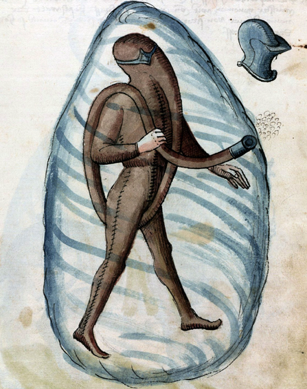 Illustration of early diving suit by Konrad Kyeser, 1459