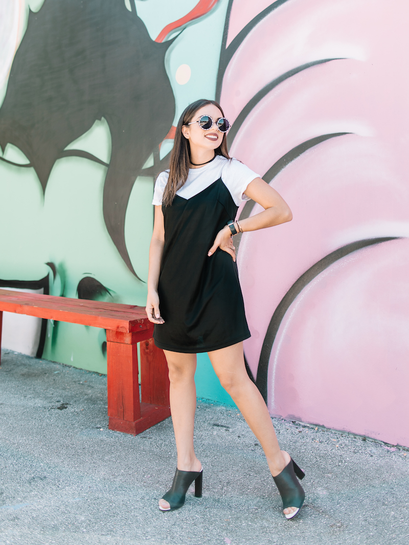 slip dress, 90s, cher inspired, clueless, white tee under dress, mules, hanes, round sunglasses