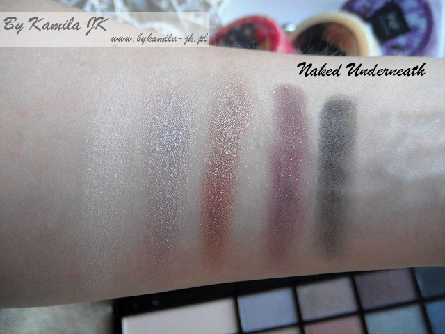 Makeup Revolution paleta cieni z sercem Naked Underneath swatche