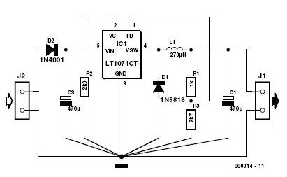 3 volts car adapter circuit diagram
