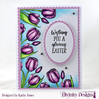 Divinity Designs Stamp Set:  Glorious Easter, Paper Collection:  Spring Flowers 2019  , Custom Dies: Scallop Rectangles, Rectangles, Scallop Ovals, Ovals