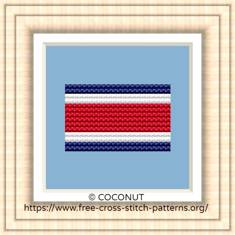 NATIONAL FLAG OF COSTA RICA CROSS STITCH CHART