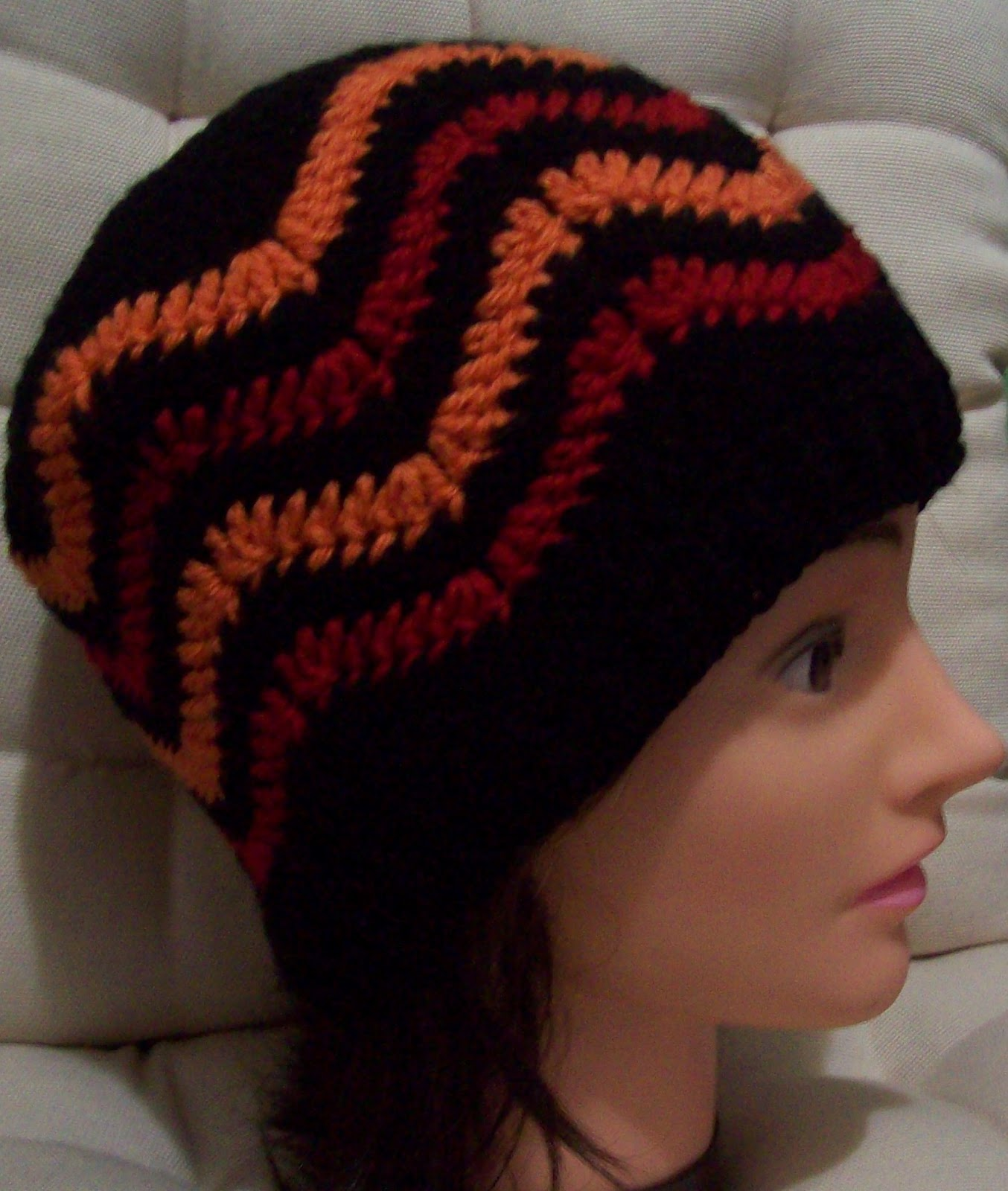 crochet chevron or ripple stitch hat for an adult free pattern
