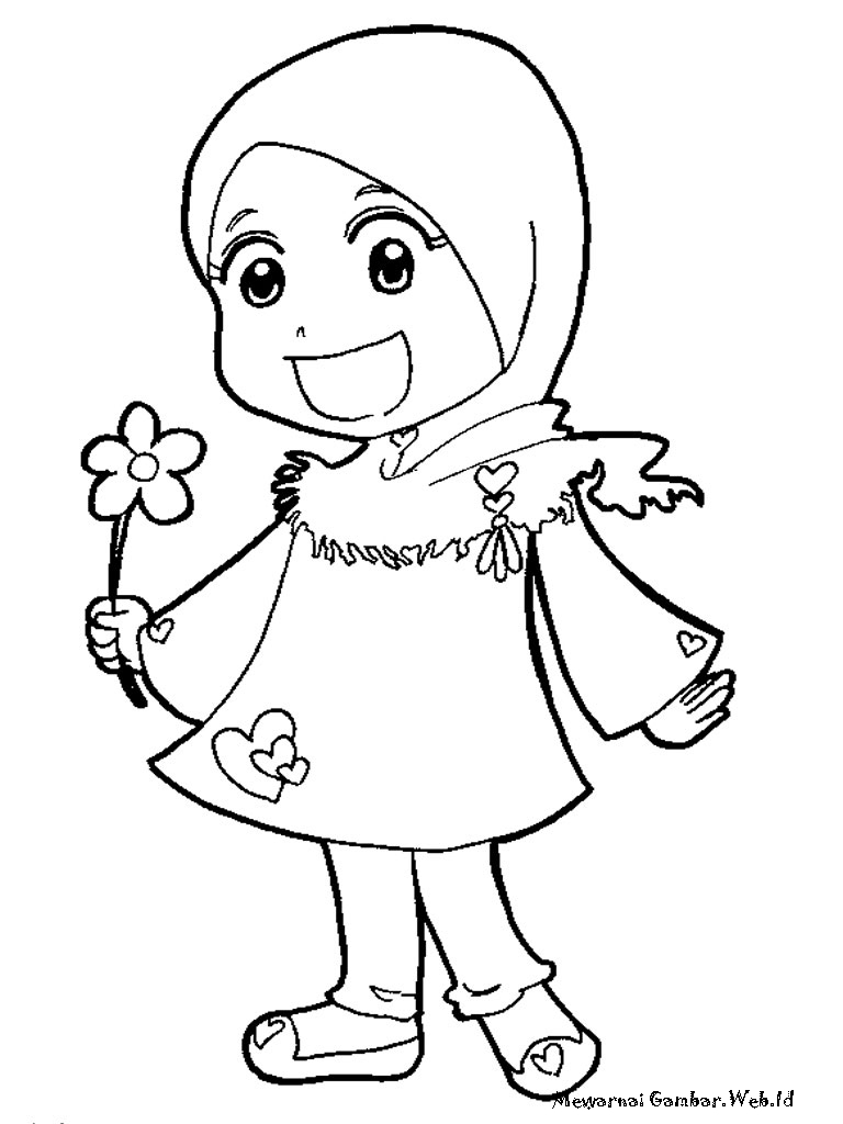 Gambar Gambar Mewarnai Anak Muslim Berjilbab Rebanas Sketsa Kartun