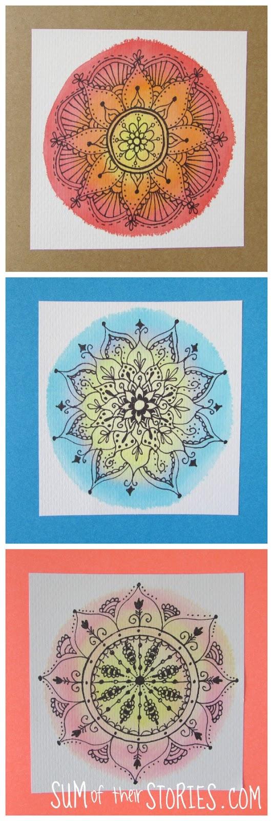 fake Watercolour and doodle mandala cards