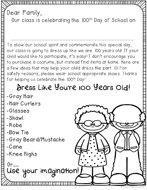 100th Day of School writing. Dress like you're 100 years old family letter.