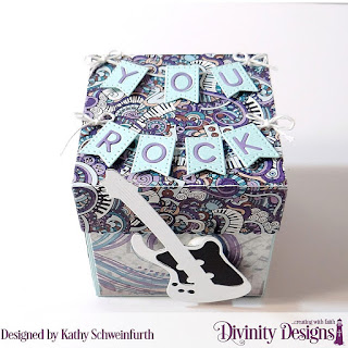 Divinity Designs Custom Dies: Explosion Box, Explosion Box Pockets & Layers, Mini Box, Musical Notes, Guitar, Alphabet Flag, Paper Collection: Notable Notes