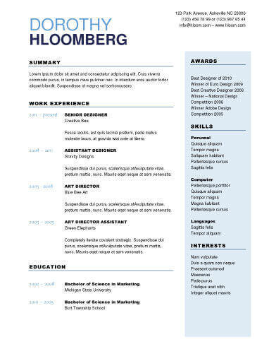 resume sample for any titles