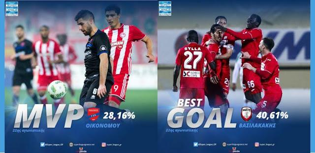 Ο Οικονόμου του Πανιωνίου (MVP) και ο Βασιλακάκης της Ξάνθης (Best Goal) κατέκτησαν τα βραβεία της 22ης αγωνιστικής της super league
