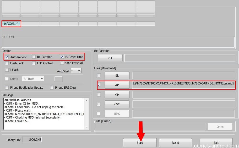 Installer la N7105XXUFND3 avec ODIN