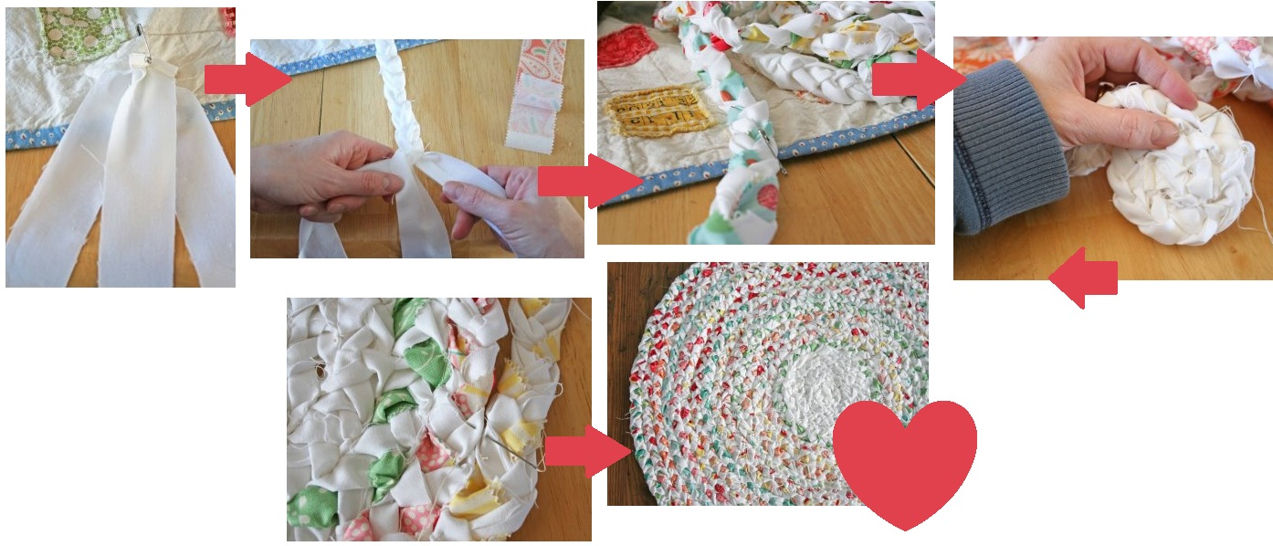 Make Your Own Braided No Sew Rag Rug