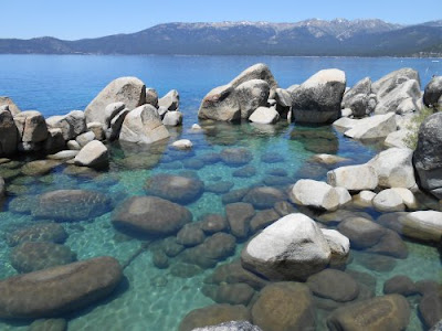 alpine lake, rocks, water, mountains