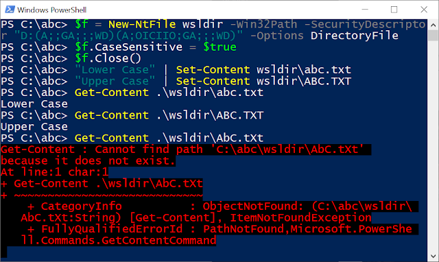 Showing setting case sensitive on a directory then using Set-Content and Get-Content to interact with the files.