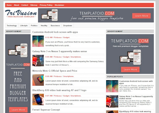 TriVusion Blogger Responsive SEO Friendly Template