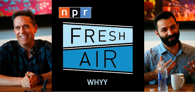 Lee Unkrich and Adrian Molina with NPR Fresh Air Logo