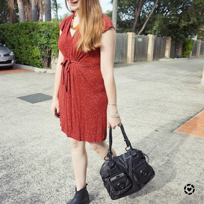 awayfromtheblue instagram international style challenge 5x5 5 outfits 5 days outfit burgundy dress