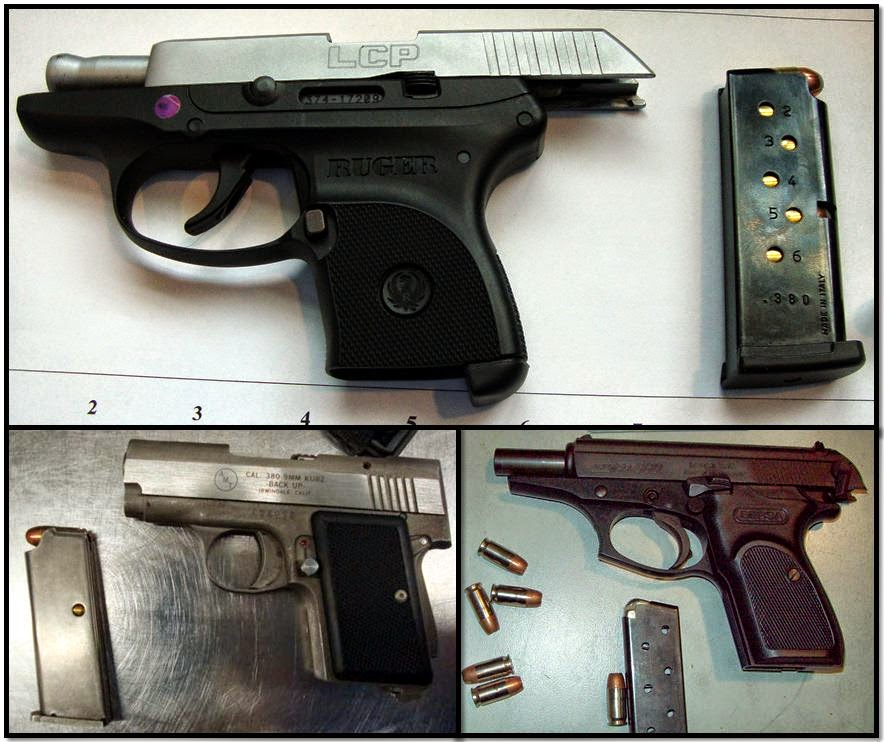 (Clockwise from top) Firearms discovered at:IAH, MCI & FAI