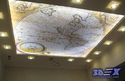 world map decor, world map ceiling, 3d stretch ceiling designs with led lighting