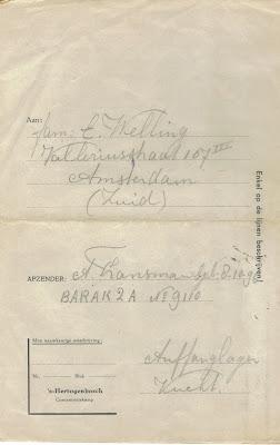 Brief, die Sander Fransman schreef vanuit Kamp Vucht