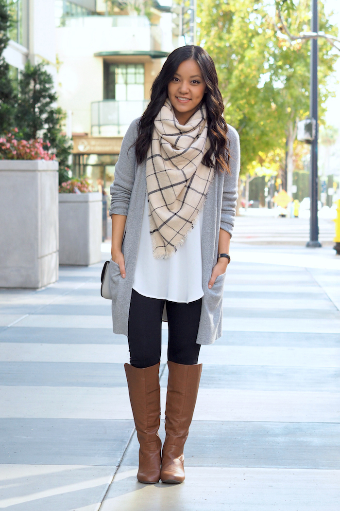 Blanket Scarf + Riding Boots + Leggings + tunic + cardigan