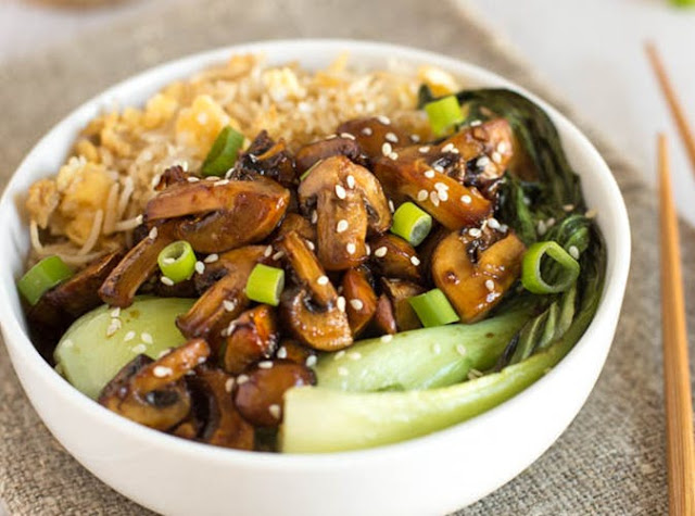 Teriyaki mushroom egg fried rice