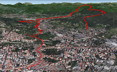Other views of the hike route. Route was done counterclockwise in images shown, starting in Quntino Alto and ending in Bergamo centro.