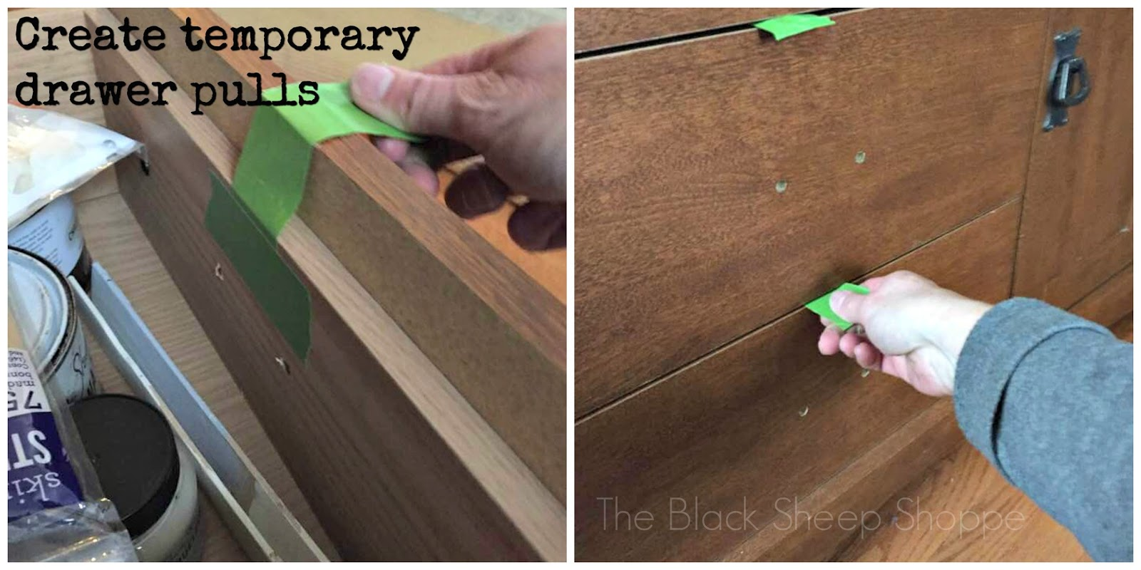 Create temporary drawer pulls with tape