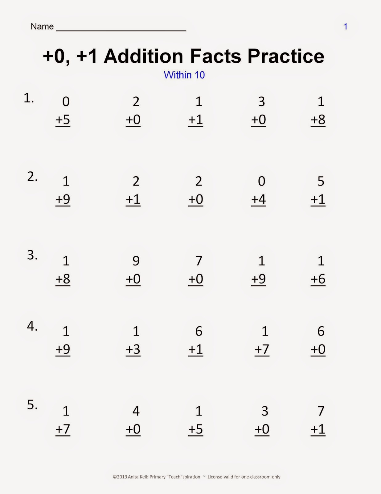 Mad Minute Addition Facts Worksheet