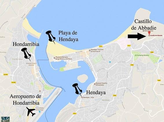 Mapa situación del Castillo de Abbadie. Hendaya