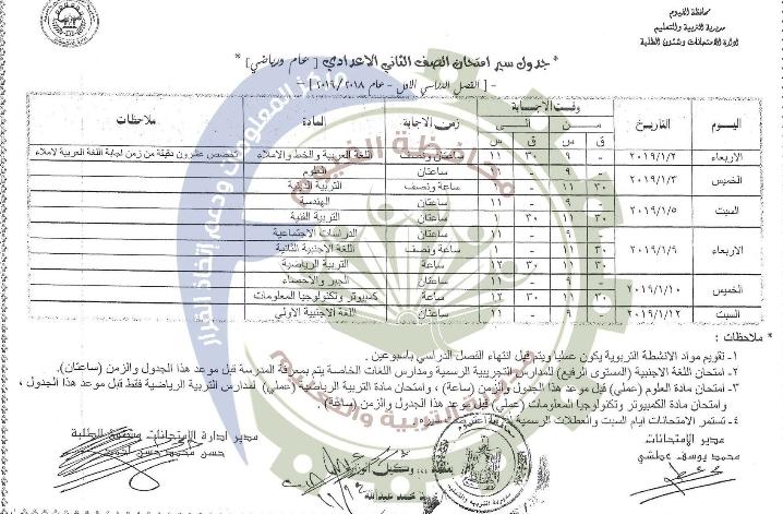 جدول امتحانات الصف الثاني الإعدادي الترم الأول 2019 محافظة الفيوم
