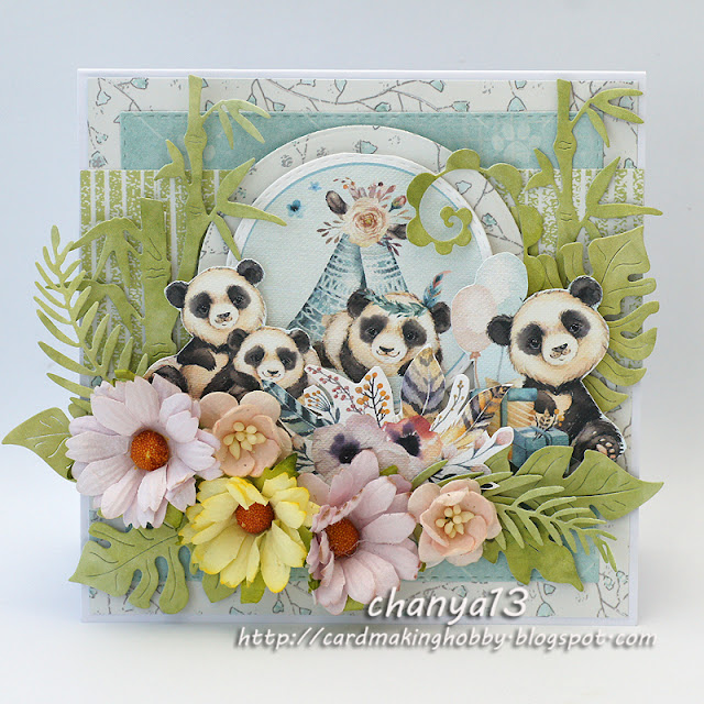 325. Kartka urodzinowa z pandami