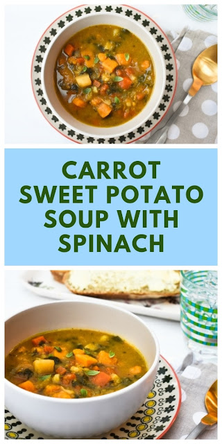 A simple root vegetable and spinach soup with sweetness from carrot and sweet potato and a warmth from spices. #52diet #52dietrecipe #52soup #soup #vegetablesoup #carrotsoup #parsnipsoup #sweetpotatosoup #lowcaloriesoup #dietsoup #vegansoup