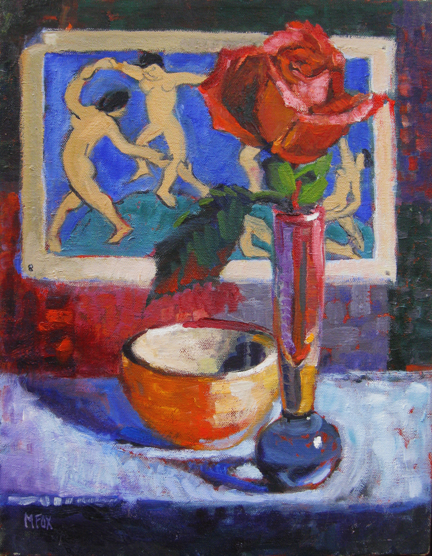 Matisse Dancers & Rose, figurative oil painting, still ...