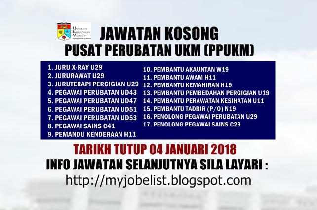 Jawatan Kosong Pusat Perubatan UKM (PPUKM) Januari 2018