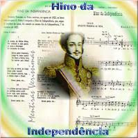 Partitura e letra do Hino da Independência do Brasil com uma foto de D. Pedro I sobreposta.